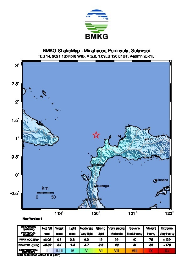 Breaking News,  Gempa Bumi M 5,2 Guncang Kab Toli-Toli, Sulawesi Tengah